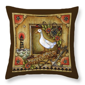 Throw Pillow featuring the painting Siren Song Aka Ducking In For A Tattoo by Retta Stephenson