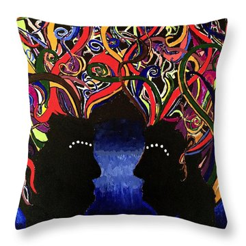 Sis The Twins - Abstract Silhouette Painting - Sisterhood - Abstract Painting  Throw Pillow