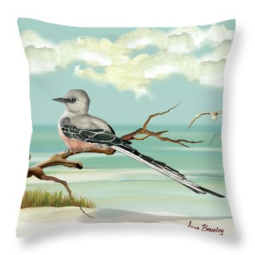 Sissor Tailed Flycatcher Throw Pillow by Anne Beverley-Stamps