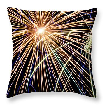 Sister Bay Fireworks Throw Pillow