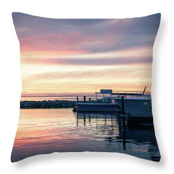 Sister Bay Marina At Sunset Throw Pillow