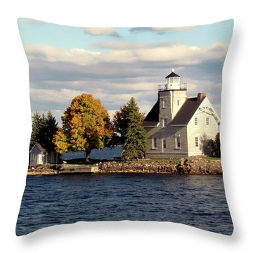 Sister Island Lighthouse Throw Pillow