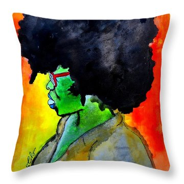 Throw Pillow featuring the painting Sister by Tarra Louis-Charles