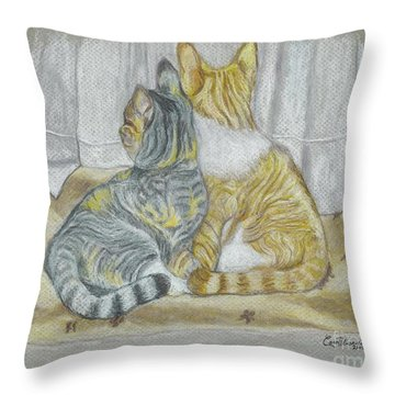 Throw Pillow featuring the drawing Sisters  by Carol Wisniewski