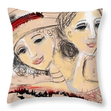 Sisters Throw Pillow by Elaine Lanoue