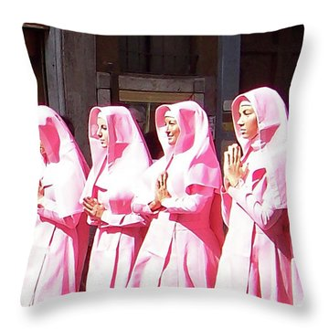 Sisters In Pink Throw Pillow