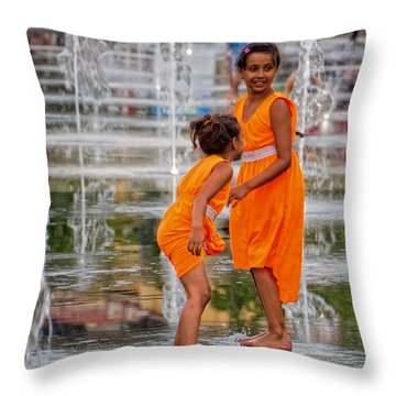 Sisters In The Waterpark Throw Pillow