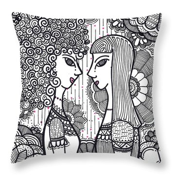 Sisters - Ink Throw Pillow