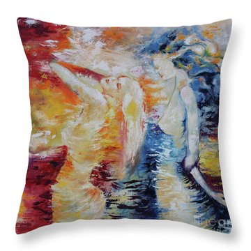 Throw Pillow featuring the painting Sisters by Marat Essex