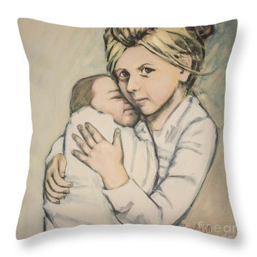 Throw Pillow featuring the painting Sisters by Olimpia - Hinamatsuri Barbu