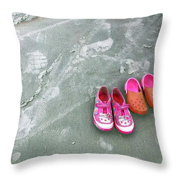 Sisters Playing Barefoot In The Sand Throw Pillow