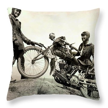 Sisters Ride Cross Country On Indian Motorcycles 1916 Throw Pillow