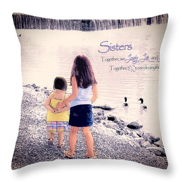 Sisters Throw Pillow by Tom Schmidt
