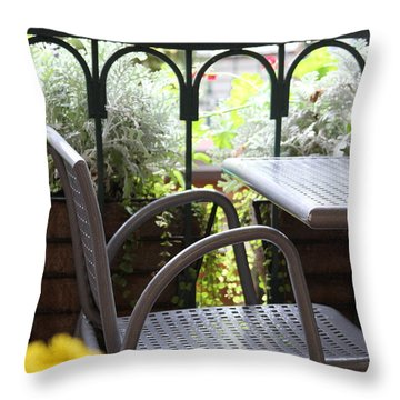 Throw Pillow featuring the photograph Sit A While by Laddie Halupa