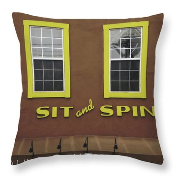 Sit And Spin Laundromat Color- By Linda Woods Throw Pillow