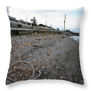 Sit Back And Enjoy The Sea Throw Pillow by Ana Mireles