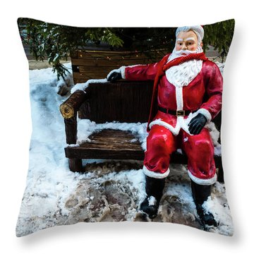 Sit With Santa Throw Pillow