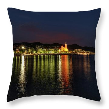 Throw Pillow featuring the photograph Sitges Night 001 by Lance Vaughn