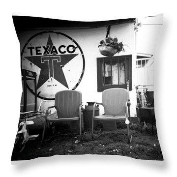 Sitting At The Texaco Black And White Throw Pillow
