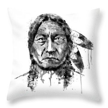 Throw Pillow featuring the mixed media Sitting Bull Black And White by Marian Voicu