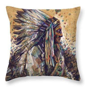 Sitting Bull Decorative Portrait 2 Throw Pillow