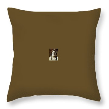 Sitting Bull Throw Pillow by Kevin Heaney