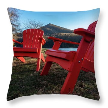 Sitting By The Lake Throw Pillow