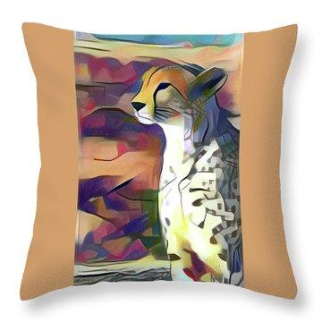 Sitting Cheetah  Throw Pillow