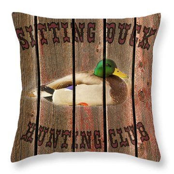 Sitting Duck Hunting Club Throw Pillow