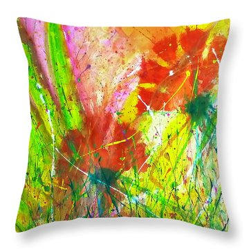 Sitting In The Garden Throw Pillow