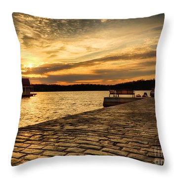 Sitting On The Dock Of The Lake Throw Pillow by Mark Miller