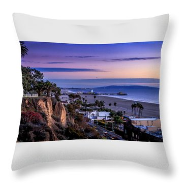 Sitting On The Fence - Santa Monica Pier Throw Pillow
