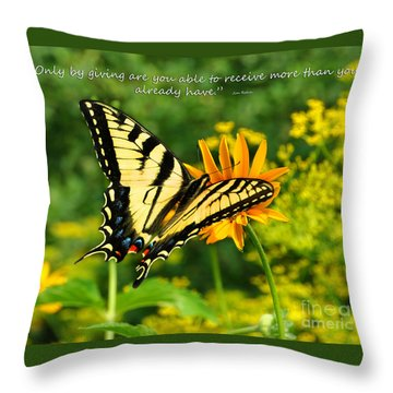Throw Pillow featuring the photograph Sitting Pretty Giving by Diane E Berry
