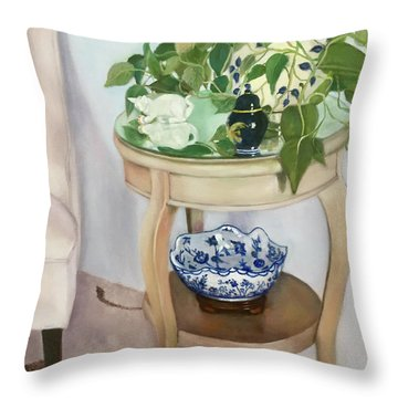 Throw Pillow featuring the painting Sitting Pretty by Marlene Book