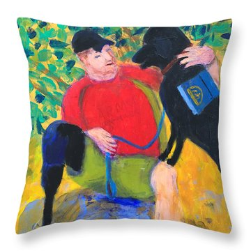 Throw Pillow featuring the painting One Team Two Heroes-4 by Donald J Ryker III