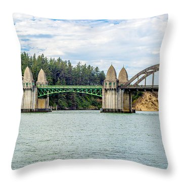 Siuslaw River Draw Bridge  Throw Pillow
