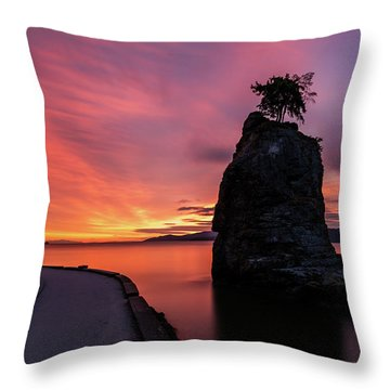 Siwash Rock Along The Sea Wall Throw Pillow