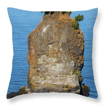 Siwash Rock By Stanley Park Throw Pillow by David Gn