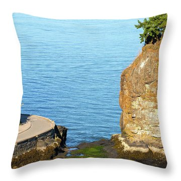 Siwash Rock By Stanley Park Seawall Throw Pillow by David Gn