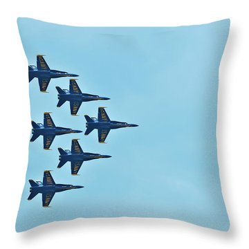 Six Blue Angels In The Clear Blue Sky Throw Pillow
