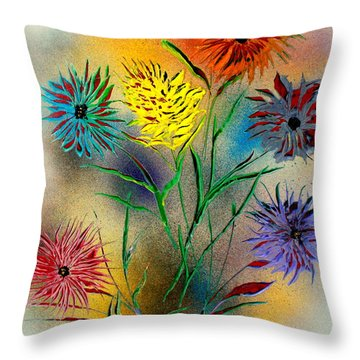 Throw Pillow featuring the painting Six Flowers - E by Greg Moores