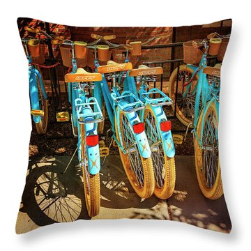 Throw Pillow featuring the photograph Six Huffy Bicycles by Craig J Satterlee