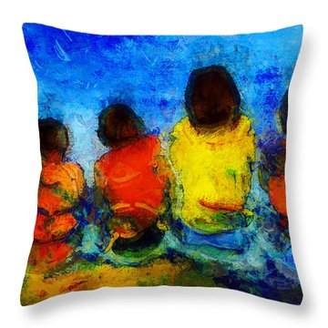 Six On The Shore  Throw Pillow