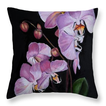 Six Orchids Throw Pillow