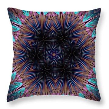 Six Petal Star Kaleidoscope Throw Pillow