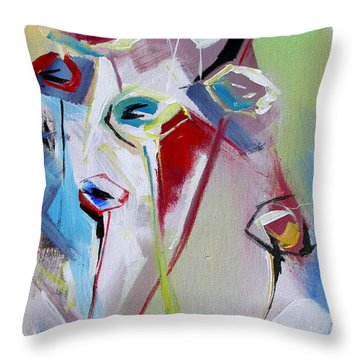 Throw Pillow featuring the painting Six Poppies  by John Jr Gholson