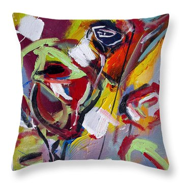 Throw Pillow featuring the painting Six Roses by John Jr Gholson