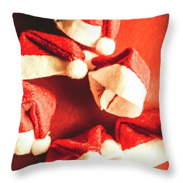 Six Santa Hats In Vintage Tone Throw Pillow