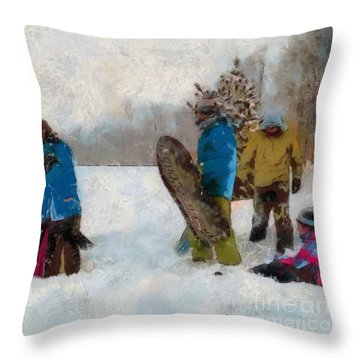 Six Sledders In The Snow Throw Pillow by Claire Bull
