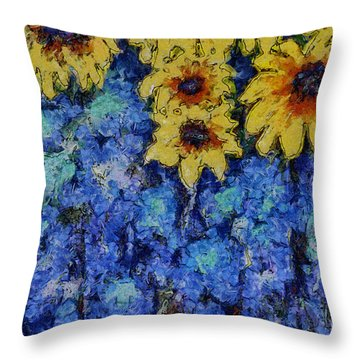 Six Sunflowers On Blue Throw Pillow by Claire Bull